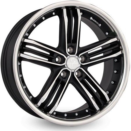 KESKIN KT11 5x112 9.5x18 ET45 Matt Black Front Polish Steel Lip